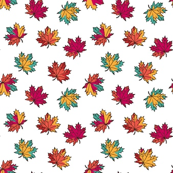 Seamless pattern with colorful flat maple leaves