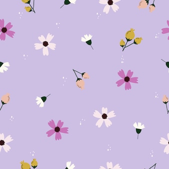 Seamless pattern with colorful flowers background