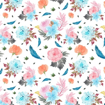 Seamless pattern with colorful flowers and blue feather