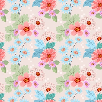 Seamless pattern with colorful flowers vector for fabric textile wallpaper.