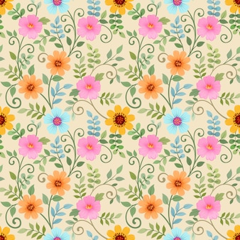 Seamless pattern with colorful flowers on yellow