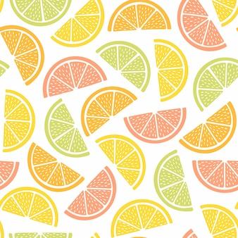 テキスタイルデザインのためのカラフルなフルーツとのシームレスなパターン。明るい色の夏の背景。手描きのトレンディなベクトルイラスト。