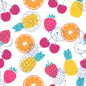 Seamless pattern with colorful fruits