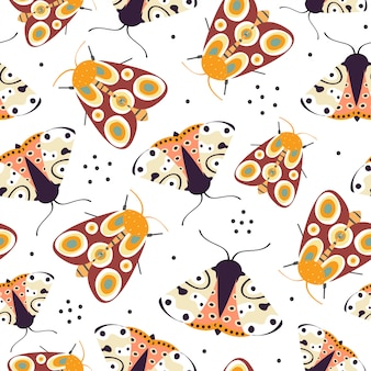 Seamless pattern with colorful funny butterfly
