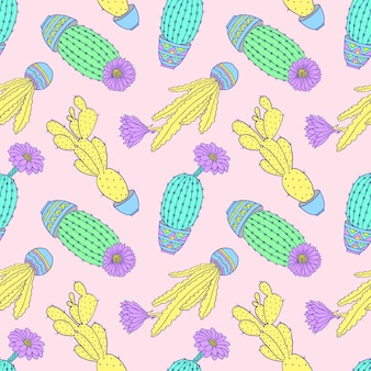 Seamless pattern with colorful hand drawn cactuses on pink