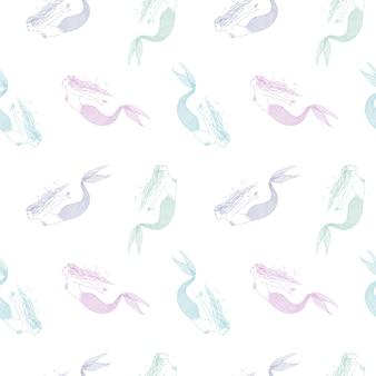 흰색 바탕에 화려한 손으로 그린 인어와 함께 완벽 한 패턴입니다. 동화나 신화적인 인물이 있는 배경. 벽지, 패브릭 인쇄, 포장지에 대한 빈티지 스타일의 벡터 일러스트레이션.