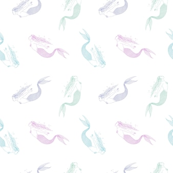 Seamless pattern with colorful hand drawn mermaids on white background. backdrop with fairytale or mythical character. vector illustration in vintage style for wallpaper, fabric print, wrapping paper.