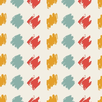 Seamless pattern with colorful hand drawn scribble smear on white background. abstract grunge texture. vector illustration