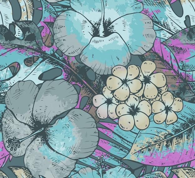 カラフルな手でシームレスなパターンには、熱帯植物と青い色で水彩テクスチャと花が描かれています。夏のハワイの背景。