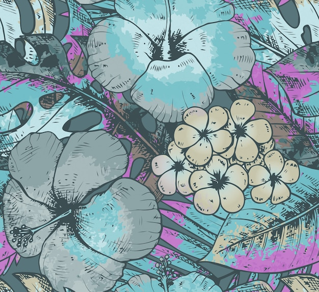 Seamless pattern with colorful hand drawn tropical plants and flowers with watercolor texture in blue colors. summer hawaiian  background.