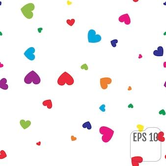 Бесшовный фон с красочными сердцами. цвет сердца конфетти праздник. праздничный декор. вектор. бесшовный узор в стиле мемфис на белом фоне.