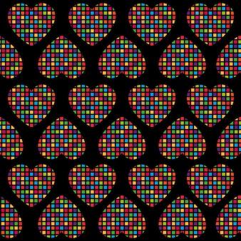 カラフルなハートとシームレスなパターン
