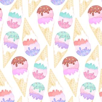 흰색 바탕에 화려한 아이스크림 콘과 함께 완벽 한 패턴입니다. 냉동 된 요구르트 그리기와 수채화 원활한 디자인
