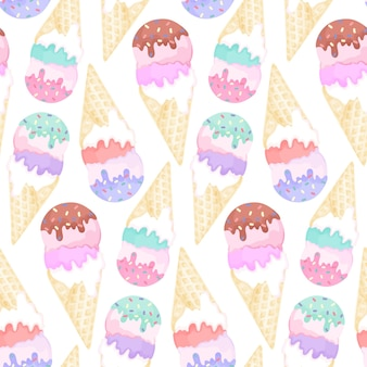 Seamless pattern with colorful ice-cream cones on white background. watercolor seamless design with frozen yogurt drawing