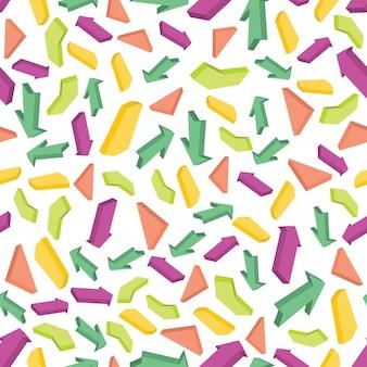 カラフルな等尺性矢印とのシームレスなパターン。ベクトルイラスト