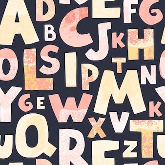 暗い背景のアルファベットのカラフルな文字とのシームレスなパターン