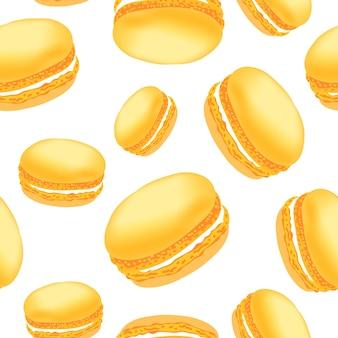 Безшовная картина с красочными печеньями macaroon на белой предпосылке.