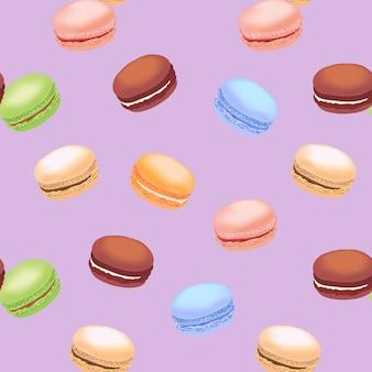 カラフルなマカロンクッキーとのシームレスなパターン。