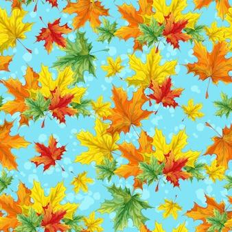 Бесшовный фон с красочными кленовыми листьями. яркий разноцветный осенний фон.