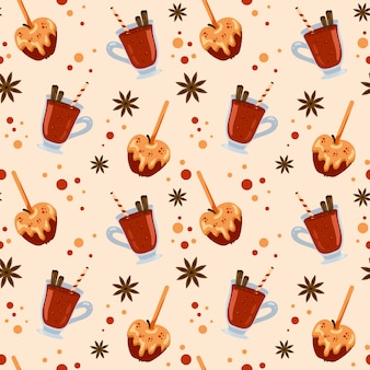 Seamless pattern with colorful mulled wine and apples in caramel. menu design, shop wrapping paper.