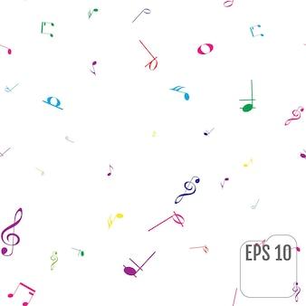 カラフルな音符とのシームレスなパターン。カラー音符紙吹雪のお祝い。お祭りの装飾。ベクター。白い背景の上のシームレスなパターン。