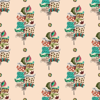 Seamless pattern with colorful ornamental feathers.