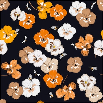 Seamless pattern with colorful pansy flowers in the garden with bumble bees and dragonfly in vector illustration design for fashion, fabric, web, wallpaper, and all prints