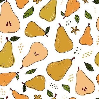 カラフルな梨とのシームレスなパターン