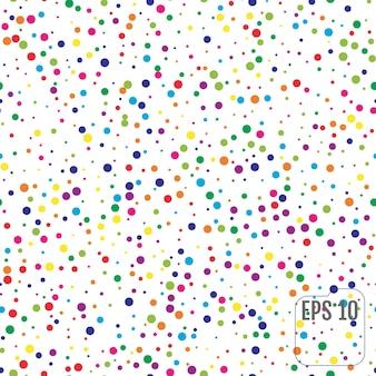 カラフルな水玉模様のシームレスなパターン。カラーサークル紙吹雪のお祝い。お祭りの装飾。ベクター。メンフィススタイルの白い背景の上の円のシームレスなパターン。