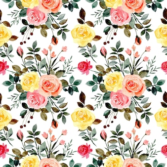 Seamless pattern with colorful roses watercolor