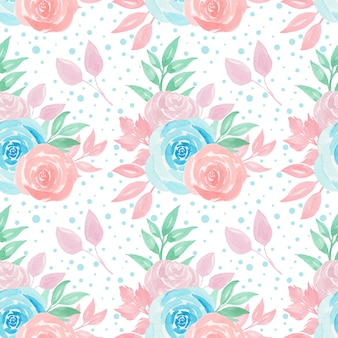 Seamless pattern with colorful roses