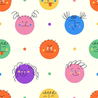 Seamless pattern with colorful round shapes showing different emotions. funny characters. modern emoji with happy sad angry smiley faces.