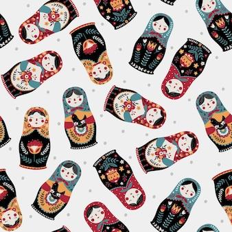 Бесшовный фон с красочными русскими куклами и матрешкой в горошек