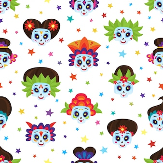 Seamless pattern with colorful skulls and stars for day of dead