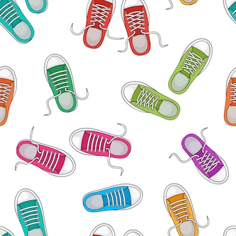 Seamless pattern with colorful sneakers, foot wear.