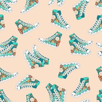 Бесшовный фон с красочными кроссовками