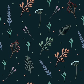 Seamless pattern with colorful spring wild flower and laurels