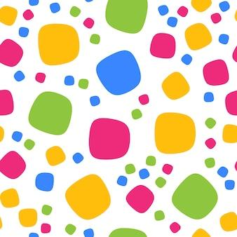 カラフルな四角形と点でシームレスなパターン。ベクトル反復テクスチャ。