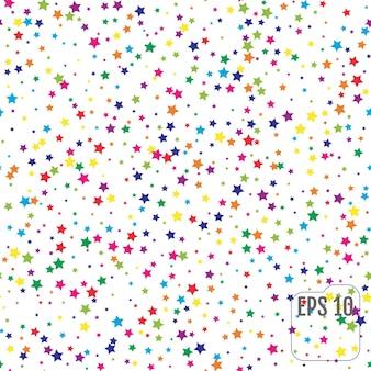 カラフルな星とのシームレスなパターン。カラースター紙吹雪のお祝い。星空のパターン。お祭りの装飾。ベクトルイラスト