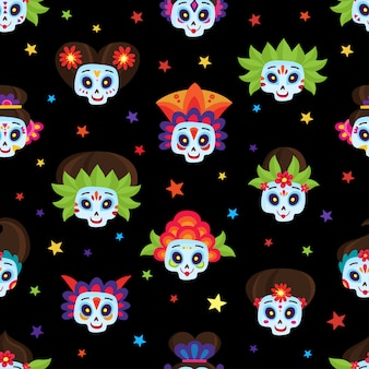 Seamless pattern with colorful sugar skulls and stars for day of the dead or halloween for mexican holiday on black in a cartoon style.