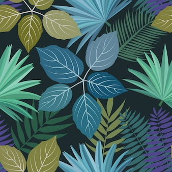 Seamless pattern with colorful tropical leaves and plants