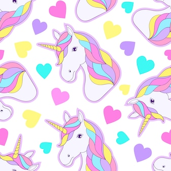 Seamless pattern with colorful unicorns and hearts