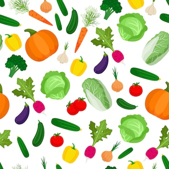 Seamless pattern with colorful vegetables