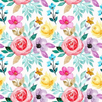Seamless pattern with colorful watercolor flower