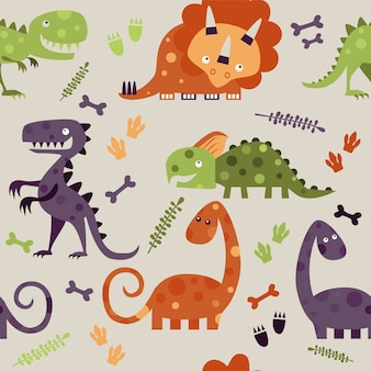 Seamless pattern with colourful  dinosaurs