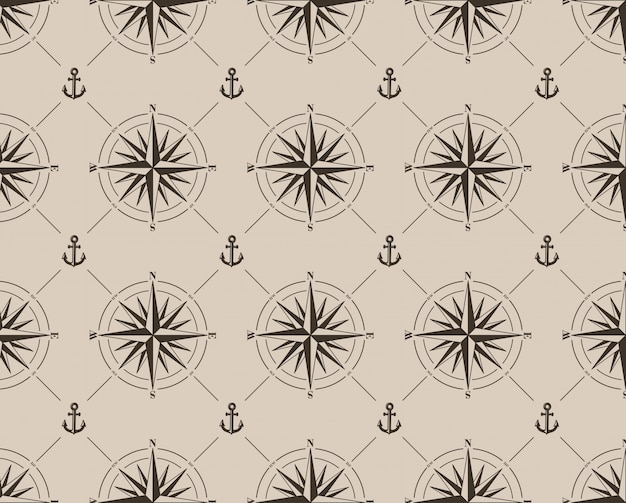 Seamless pattern with compass rose and anchor