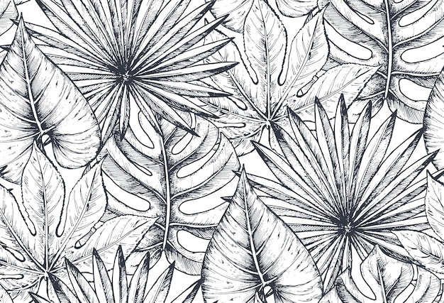 Seamless pattern with compositions of hand drawn tropical flowers, palm leaves, jungle plants, paradise bouquet. beautiful black and white sketched floral endless background