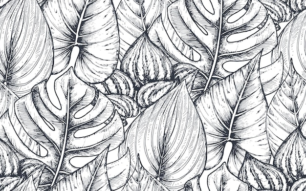 Seamless pattern with compositions of hand drawn tropical flowers, palm leaves, jungle plants, paradise bouquet.  black and white sketched floral pattern