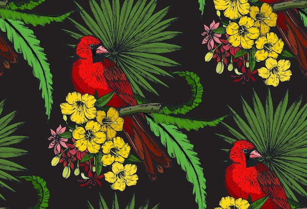 Seamless pattern with compositions of hand drawn tropical flowers, palm leaves, jungle plants, paradise bouquet with exotic birds. beautiful colorful floral endless background