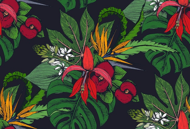 Seamless pattern with compositions of hand drawn tropical flowers, palm leaves, jungle plants, paradise bouquet.